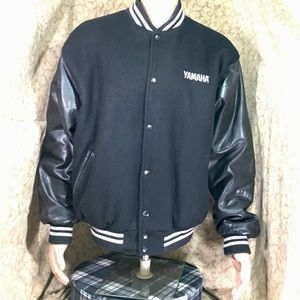 Yamaha Wear Men's Leather & Wool Letterman Jacket